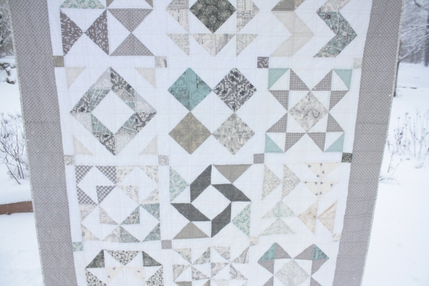 front of low volume HST quilt