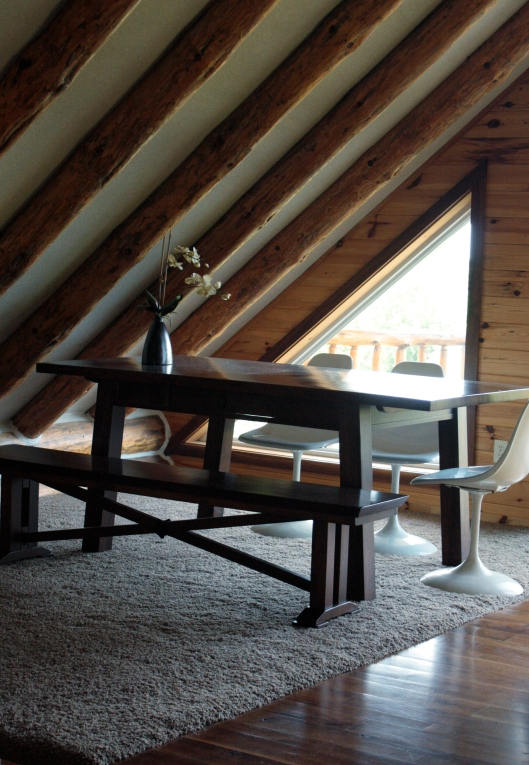 table in loft at chalet