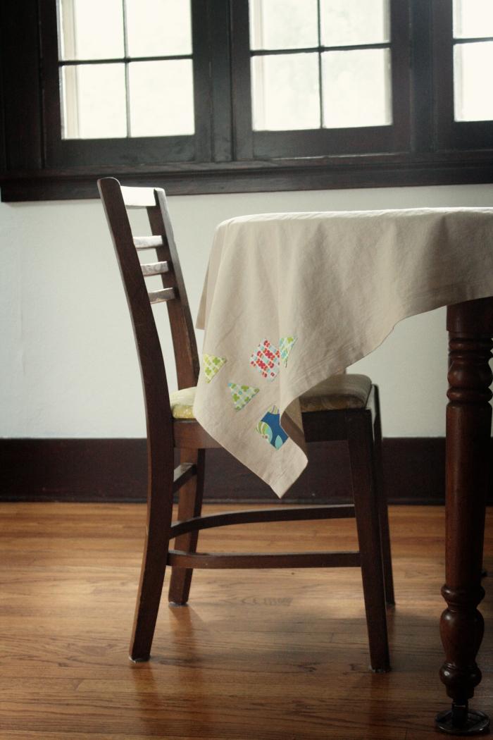 bottom corner of tablecloth