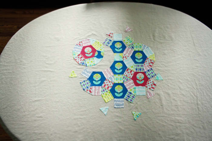 center of spring carnival tablecloth on table copy
