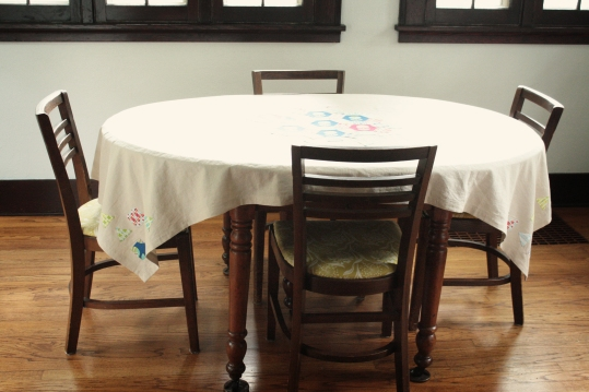 dining room with new tablecloth