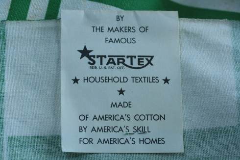 back of tag on clover tablecloth