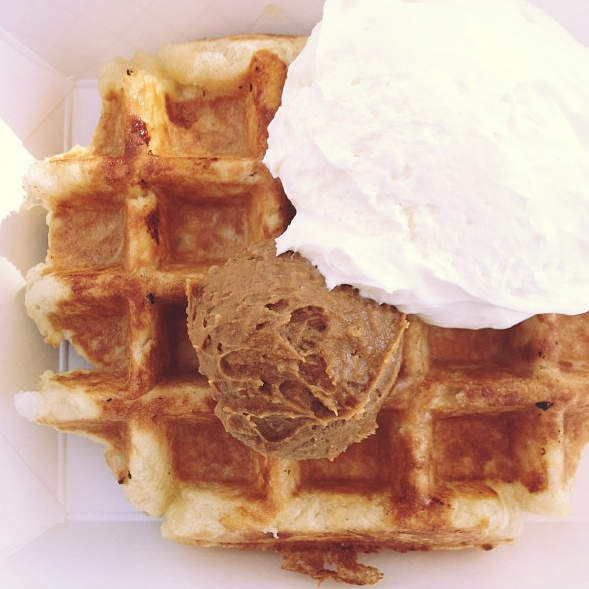 waffle with speculoos and creme fraiche