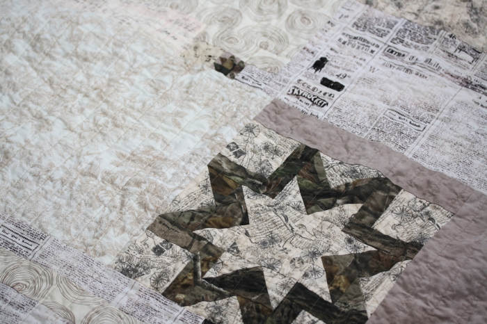 camouflage star and tiny leaf on quilt