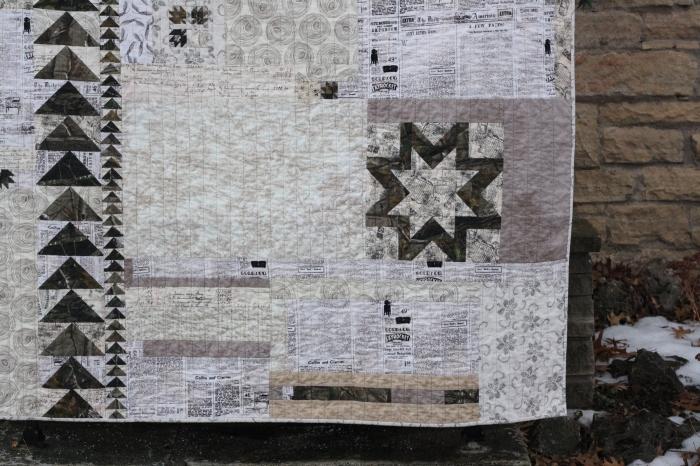 corner of camouflage quilt