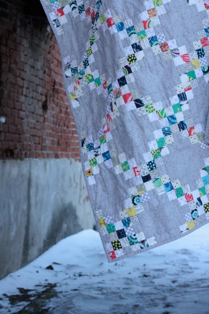 corner of concrete Irish chain quilt