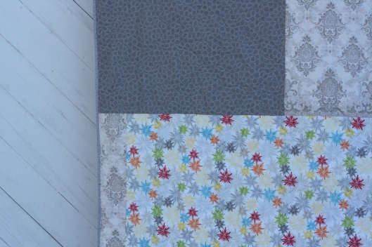 detail of back of concrete Irish chain quilt