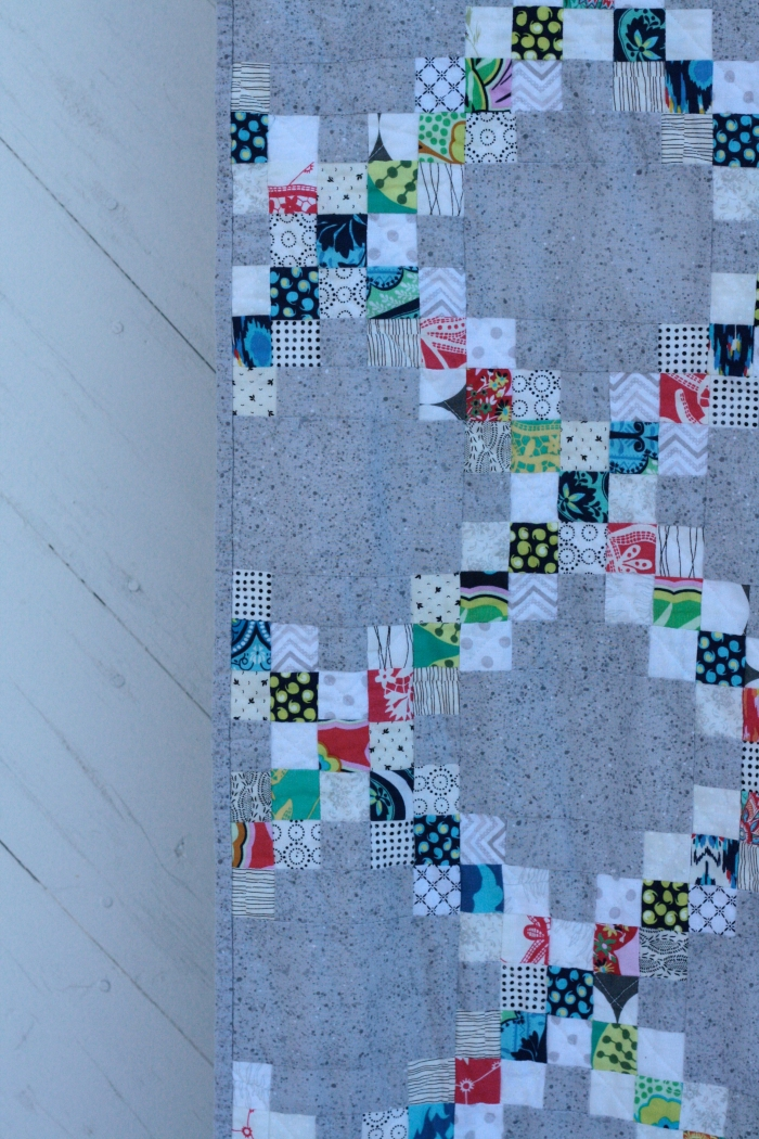 side of concrete Irish chain quilt