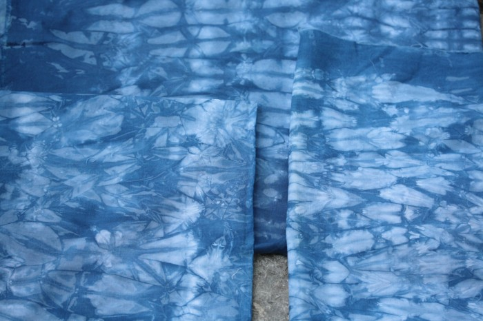 indigo with string shibori resist