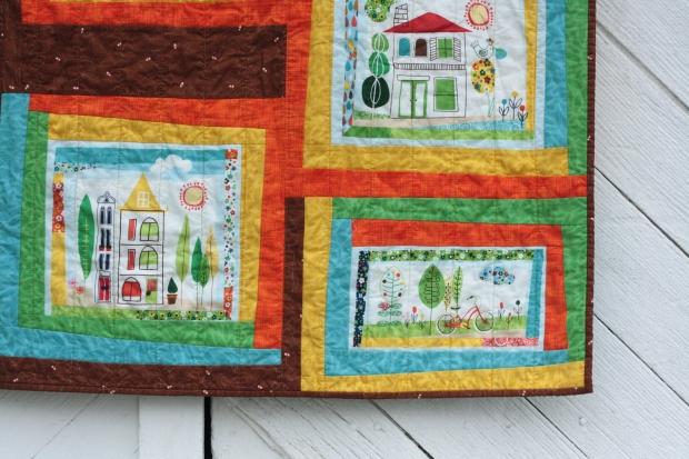 corner of around the block quilt