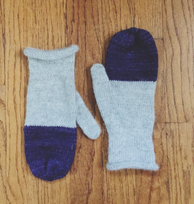 color block mittens